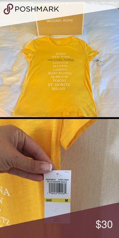 NWT Michael Kors City Print Shirt NWT Yellow Michael Kors City Print Shirt. Size M Michael Kors Tops Tees - Short Sleeve
