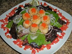 Chef JD's Comfort Cuisine: Seared Scallops and Capelin Roe over Mesclun Lettu...