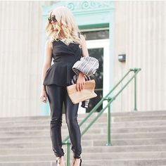 @Ameliaorez gives us major style envy in the perfect head-to-toe black style that easily goes from day to night. Wearing the Jayne Peplum Top, made in USA. jalehclothing.com