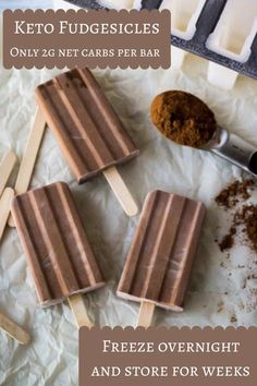 Super creamy and chocolatey. ...Only 2g net carbs and you don�t even need those fancy molds....just use paper Dixie cups. Love having these in my freezer for a late night sweet craving.