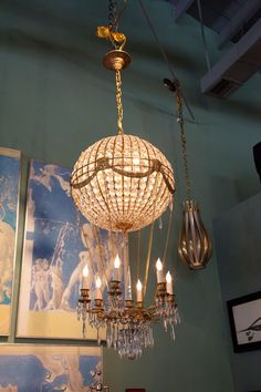 1940s Italian Crystal Hot Air Balloon Chandelier | From a unique collection of antique and modern chandeliers and pendants  at http://www.1stdibs.com/furniture/lighting/chandeliers-pendant-lights/