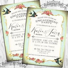 Printable+Engagement+Party+Invitations++vintage+by+Cloud9Factory,+$20.00