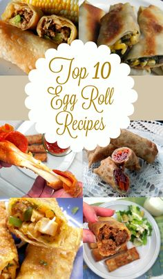 Recipes using egg roll wrappers Top 10 egg roll recipes! From traditional to unusual that are perfect for appetizers and EASY to make! Recipes Using Egg Roll Wrappers, Eggroll Wrapper Recipes, Wonton Recipes, Egg Roll Recipes, Wrap Recipes, Other Recipes, Asian Recipes, Chinese Recipes, Chicken Recipes