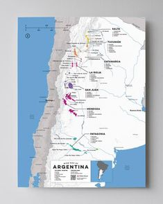 Argentina Wine Map by Wine Folly Country Maps, Wine Country, Wein Poster, Wine Tasting Near Me, Wine Coolers Drinks, Malbec Wine, Wine Folly, Napa Valley Wine, Spanish Wine