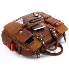 Large Handmade Vintage Leather Travel Bag / Leather Messenger Bag / Overnight Bag / Duffle Bag / Weekend Bag - n62-4 - Thumbnail 3