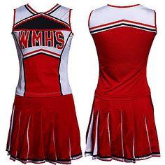 Glee Style College Cheerleader Cheerios Costume Cheer Girl w/ Pom Poms