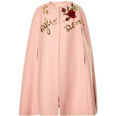 Dolce & Gabbana Sequin-embellished wool cape ($3,931) ❤ liked on Polyvore featuring outerwear, cape, coats, coats & jackets, dolce & gabbana, dolce and gabbana, light pink, woolen cape, red cape and sequin cape