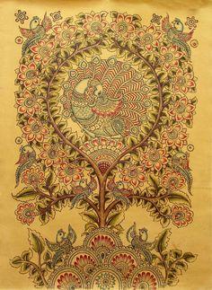 Kalamkari Bamboo Pen Painting Signed Original Folk Art 'After Rain' Novica India   eBay