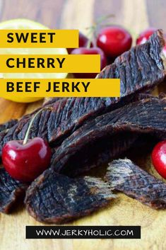Tired of the same ol' jerky recipes? Try a new exciting flavor such as this sweet and sour duck sauce jerky. Step out of your comfort zone and try an exciting new recipe! Jerky Rub Recipe, Sweet Beef Jerky Recipe, Jerkey Recipes, Teriyaki Beef Jerky, Homemade Jerky, Duck Sauce, Dehydrated Food, Dehydrator Recipes, Sweet Cherries