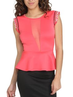 More fun, charming Peplum! LoVely coral/pink color ~ Embellished Shoulder Peplum Top from ArdenB.com