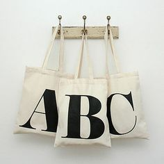Alphabet tote bags - these could be fun in a child's room. A great feature in a teen room.