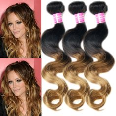 """6A Hot style  Malaysian Ombre Virgin Hair Body Wave Human Hair Extension10""""-30"""" #wigiss #HairExtension"""