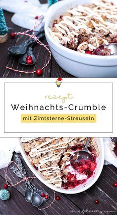 Weihnacht-Dessert: Dieser Cranberry-Apfel-Crumble mit Zimtsterne-Streuseln und feinem Baiser ist ein wahrer Genuss und ein Hingucker auf der Festtagstafel.