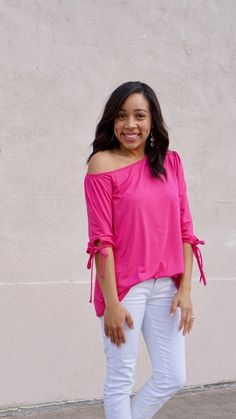 Pink vibes in this one shoulder top.  #shopthelook #ShopStyle #SpringStyle #MyShopStyle #SummerStyle #WeekendLook #DateNight #OOTD