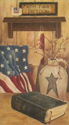 New Primitive Country FAITH FAMILY FREEDOM American Flag Bible Canvas Picture