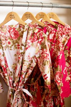 Beautiful rose floral silk robes