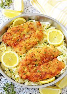 Love that they use panko! Romano Chicken with Lemon Garlic Pasta - crispy parmesan panko breaded chicken with pasta in fresh lemon garlic cream sauce! Tasty meal in 30 minutes time!