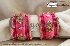 Silk Thread Bangles, Thread Jewellery, Beaded Necklace Patterns, Jewelry Patterns, Bangle Set, Bracelet Set, Bangles Making, Thread Art, Handmade Bracelets