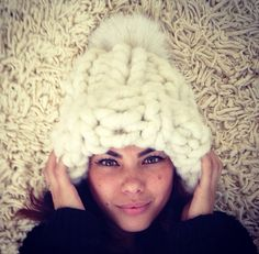 Super chunky beanie hat with very large fox pom by EandAHeritage, $225.00