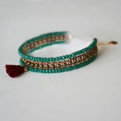 BRACELET INDIA « VERT EMERAUDE » - Bijoux de créateurs par Ila Bella - www.ilabella.com