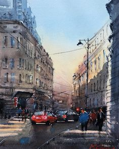 Maria Cornea I Go To Work, Going To Work, Watercolor Artists, Watercolour Painting, Bucharest, Online Art Gallery, Mystery, Street View, Paintings