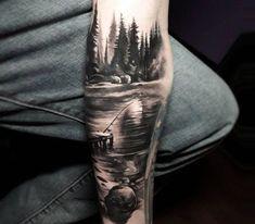 Tattoo photo - Landscape tattoo by Tyler Malek Forest Tattoo Sleeve, Nature Tattoo Sleeve, Tattoo Nature, Mandala Tattoo, Natur Tattoo Arm, Natur Tattoos, Lake Tattoo, River Tattoo, Tattoo Sleeve Designs