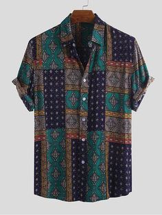 Casual Tops, Casual Shirts For Men, Casual Guy, Mens Printed Shirts, African Tops, African Style, New Mens Fashion, Fashion Vintage, Men's Fashion