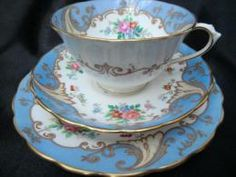 Tuscan China pale blue and floral tea trio/