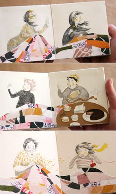 TrimmingsSpreads, ink caravan, illustration, sewing, patchwork