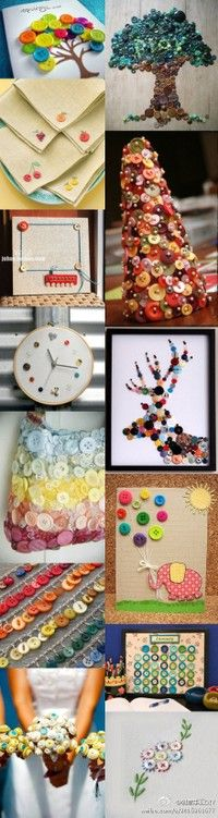Button crafts. So many ideas!! Never knew what to do with buttons besides sewing until now!