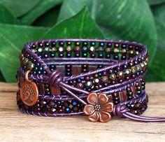 Beaded Leather Wrap Bracelet Copper Plum and Purple Tila