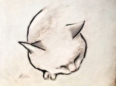 "Saatchi Art Artist: Kellas Campbell; Charcoal 2013 Drawing ""Sleeping Cat in Black and White"""