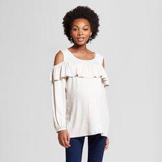 Maternity Ruffled Yoke Long Sleeve Cold Shoulder Blouse MaCherie Tan XL, Women's, Oatmeal