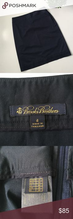 "BROOKS BROTHERS Navy Pencil Skirt Gently used with no signs of wear. Brooks Brothers navy pencil skirt size 4. 97 % cotton, 3 % lycra. This brand defines quality. Side zip. Waist: 14"". Length: 21"". Ask any questions before purchasing. Brooks Brothers Skirts Pencil"