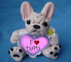 Design 1 cream colored French Bulldog Father's by sallysbitsofclay, $22.00