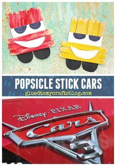Cars 3 Inspired Popsicle Stick Lightning McQueen & Cruz Ramirez Kids Craft Idea - perfect to celebrate the upcoming Disney movie release Disney Crafts For Kids, Cute Kids Crafts, Arts And Crafts For Teens, Daycare Crafts, Preschool Crafts, Diy For Kids, Kid Crafts, Kindergarten Crafts, Disney Ideas
