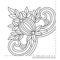 Free Hand Embroidery Pattern: Pomegranate Corners..trace...links to lots of others on this site