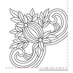 Free Hand Embroidery Pattern: Pomegranate Corners