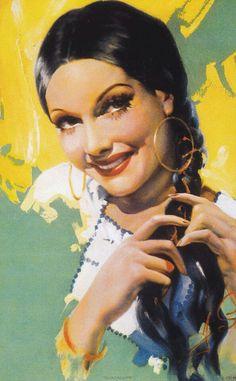 Señorita Bonita Mexican Artwork, Mexican Paintings, Mexican Folk Art, Chicano Tattoos, Chicano Art, Vintage Posters, Vintage Art, Mexican Pictures, Jesus Helguera