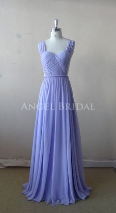 Lilac Chiffon Long bridesmaid dress, Party Dress,homecoming dress,prom dress