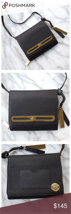 "Vince Camuto Anika Crossbody Organizer Bag Great small crossbody bag in black pebbled leather with gold hardware. Adjustable strap, flap closure with turnlock, back ID slot, front slip pocket, organizer section with zip closure and six card slots. Fabric interior, removable tags with Vince Camuto logo.  Length 6.5"", height 5.25"", width 1.5"". Strap drop 21"" - 23"". All measurements approximate. Very good condition. Some scratches on hardware, see last photo. Vince Camuto Bags Crossbody Bags"