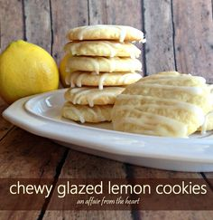chewy glazed lemon cookies | An Affair from the Heart #cookies #lemon