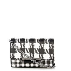 Gingham was the standout print of DVF's SS15 collection and this monochrome leather 440 Micro Mini bag is an effortless way to sport it. The compact body is de…