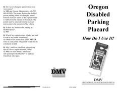 Oregon disabled parking placard : how do I use it?, by Oregon Driver and Motor Vehicle Services