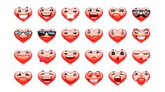 Valentine Heart Emoticons collection. Fully editable vector AI, EPS, transparent PNG and layered PSD files. Royalty free illustrations for your projects.