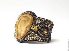 Купить Браслет с симбирцитом Сокровища древности-2 - золотой, симбирцит, японский бисер, браслет