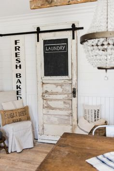 Sliding Barn Door – Laundry Room Door DIY laundry room sliding barn door - Great for any room of your home. A great way to add architectural farmhouse detail to any home. Laundry Room Doors, Farmhouse Laundry Room, Laundry Room Design, Closet Doors, Farmhouse Style, Modern Farmhouse, Kitchen Design, Basement Laundry, White Wooden Doors