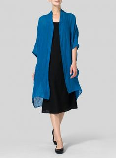 Linen Kimono Cardigan-Long and fluid; this sheer kimono cardigan is a luxe layer designed for effortless movement.
