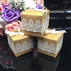 50pcs/lots Lace Kraft Wedding Favor Box Wedding and Party Decoration Candy box Paper box Wedding Party Supplies – NZD $ 36.67