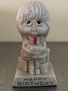 Russ Berrie Figure Happy Birthday Girl 1972 Red Candle Gift for Her Mid Century | eBay